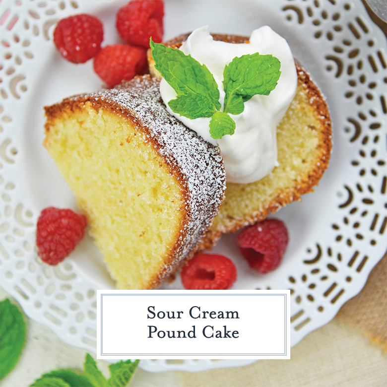 sliced pound cake with fresh whipped cream, mint and raspberries