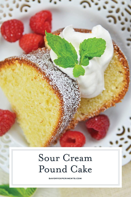 close up of sour cream pound cake for pinterest