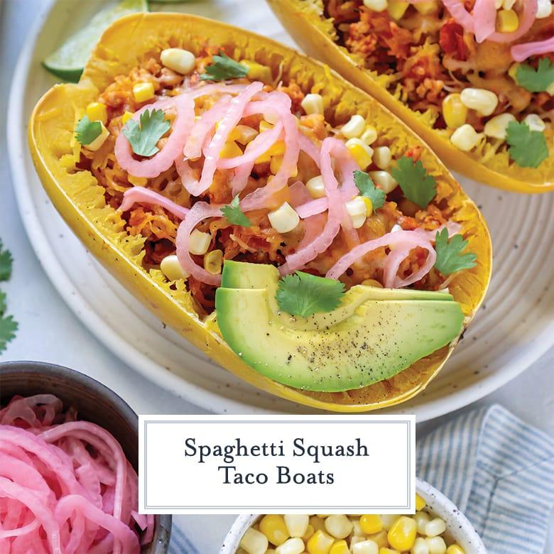 spaghetti squash taco boat with avocado, red onion and corn