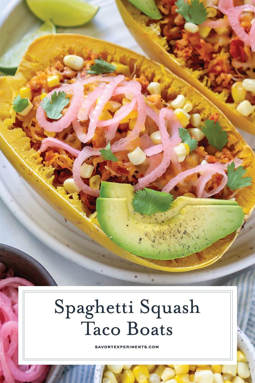close up of spaghetti squash taco boats