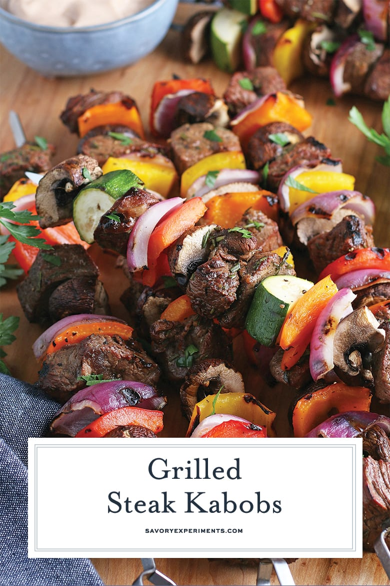 close up of beef kabobs for pinterest