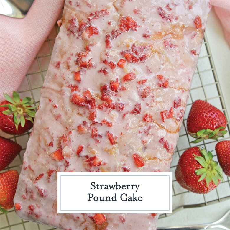 overhead view of a strawberry loaf cake