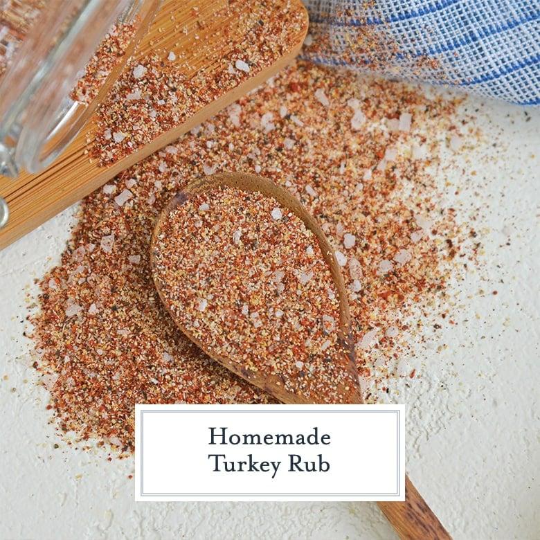 wood spice spoon with homemade turkey rub