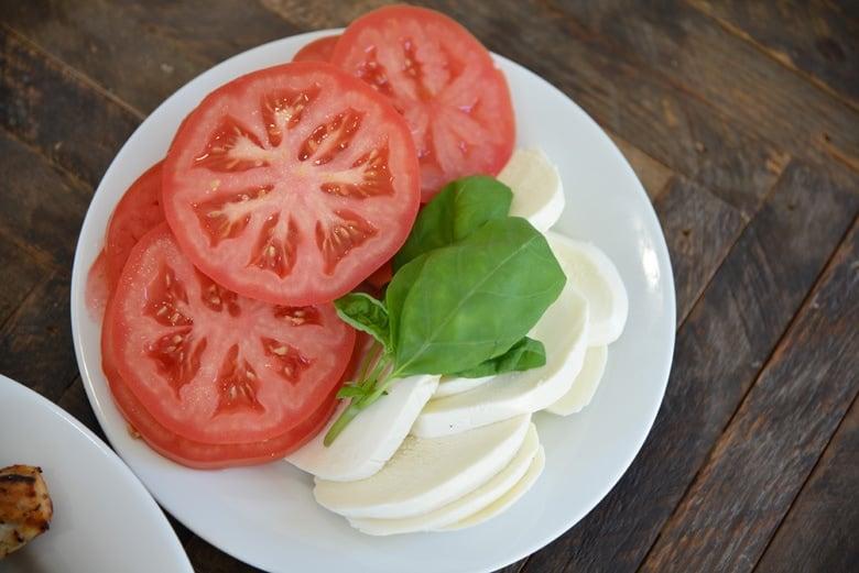 fresh tomatoes, basil and mozzarella cheese