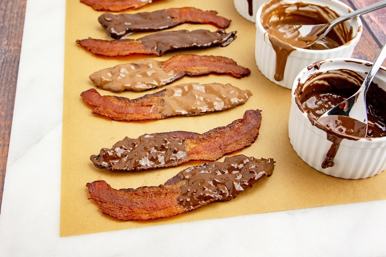 chocolate covered bacon drying