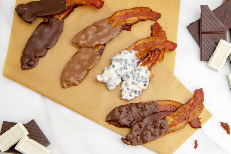 four types of chocolate covered bacon