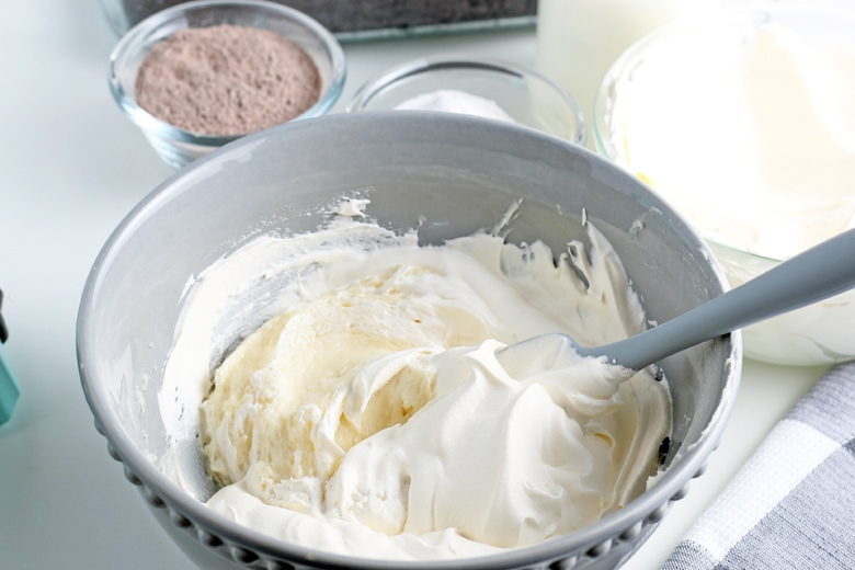 whipped cream cheese in a mixing bowl