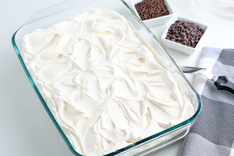 whipped cream topping for chocolate lasagna