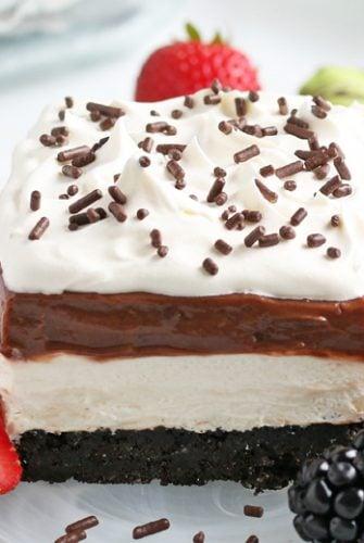 close up of chocolate lasagna slice