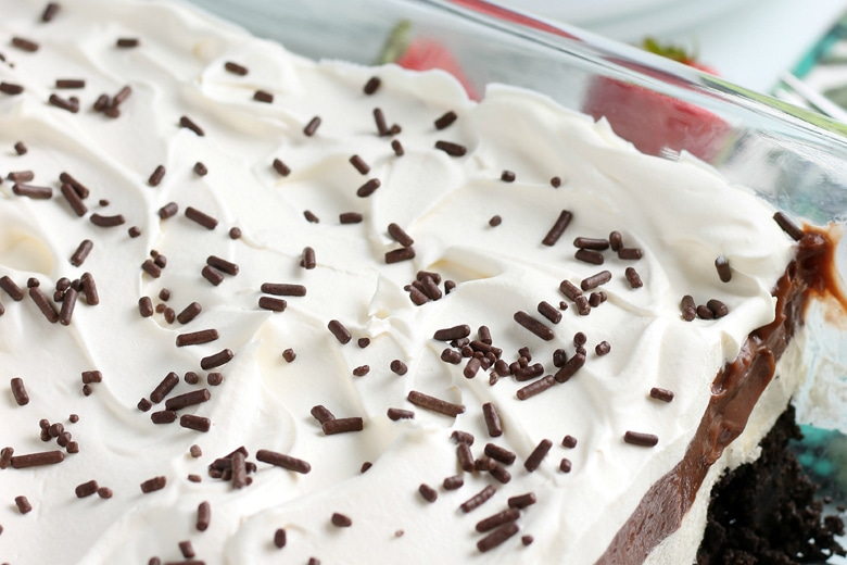 close up of chocolate icebox cake
