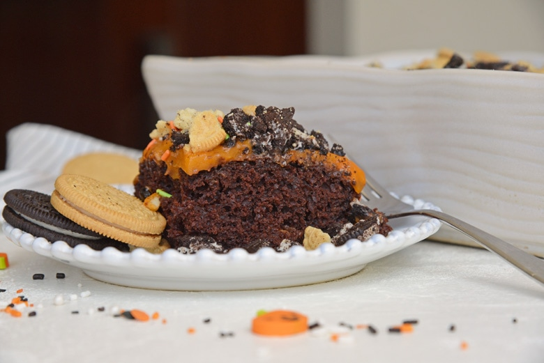 side view of halloween poke cake