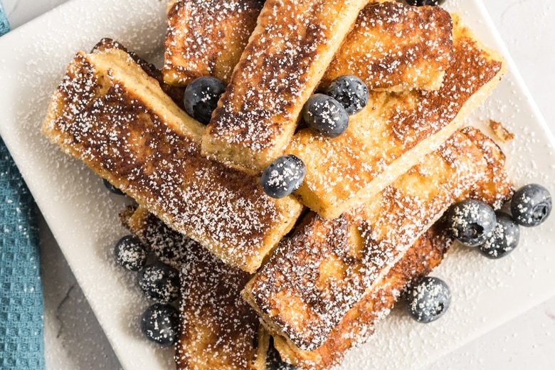 close up plate of French toast sticks