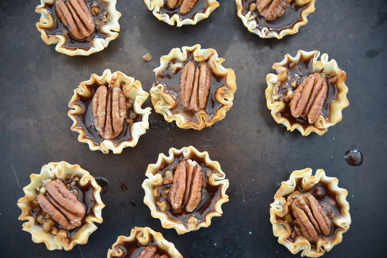 pecan pie filling in tart shells