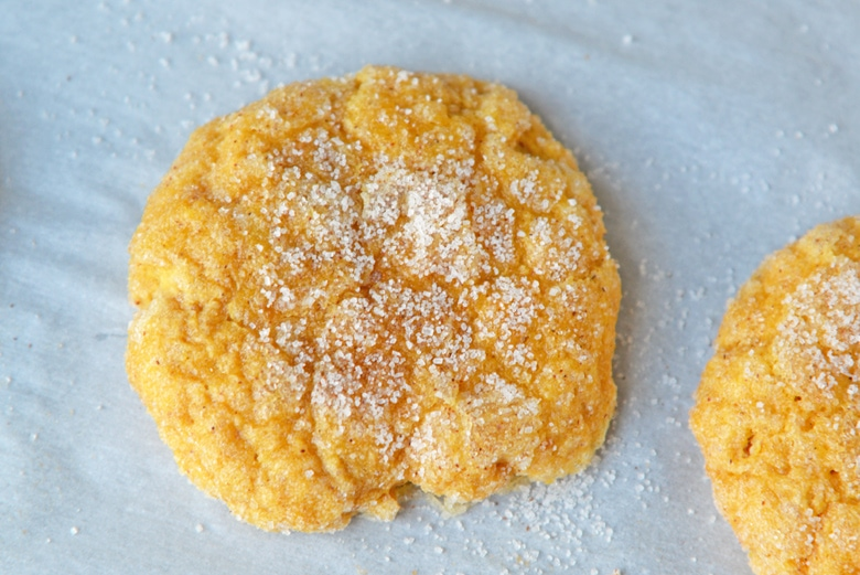 close up of pumpkin sugar cookies