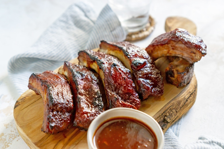 angle view of slow cooker ribs