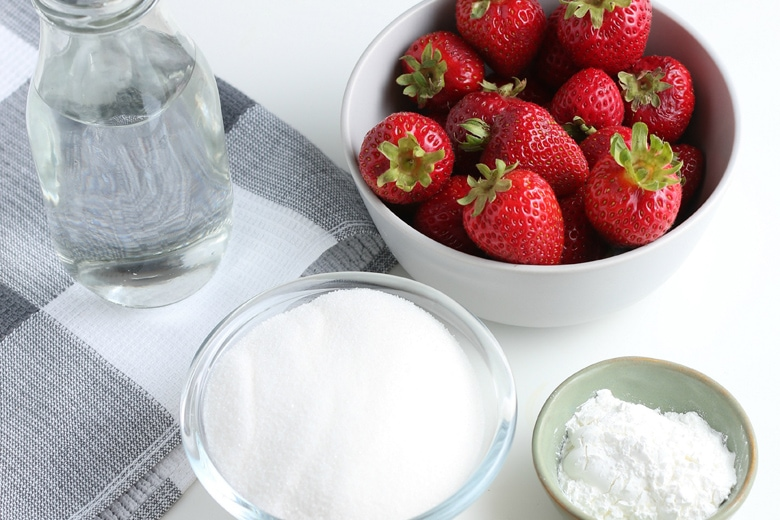 ingredients for strawberry topping