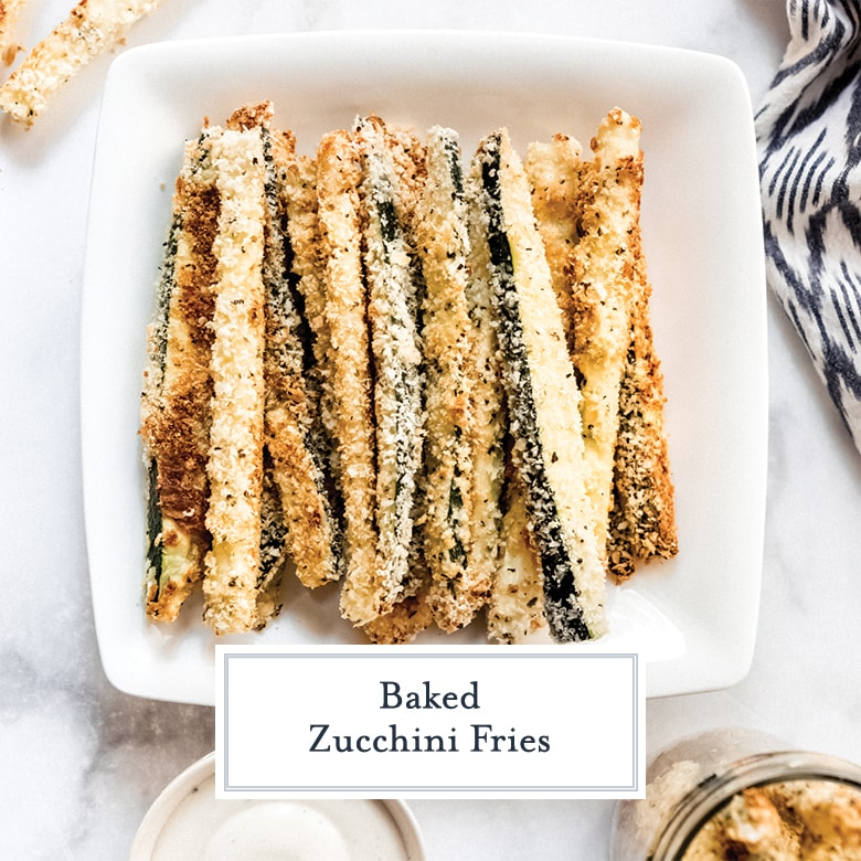 plate of breaded baked zucchini fries