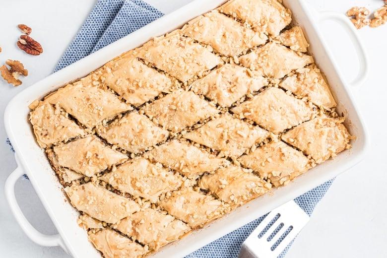 pan of honey nut baklava