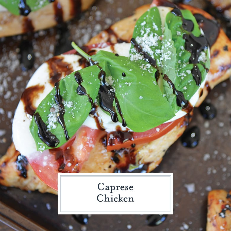 close up of caprese chicken on baking sheet