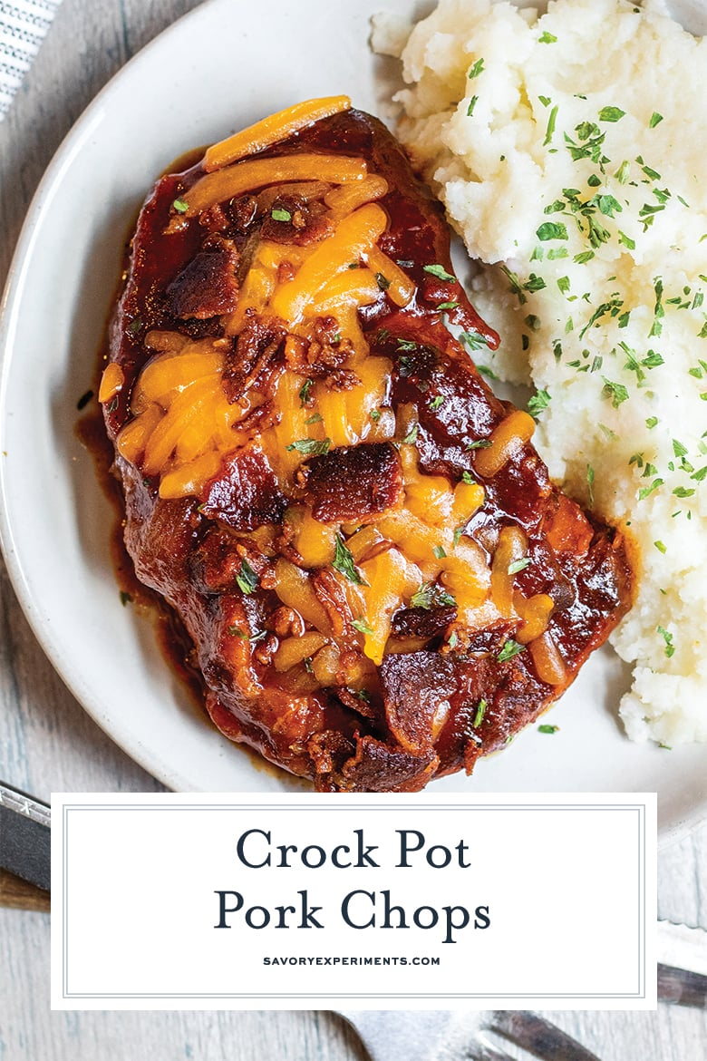 overhead of bbq crockpot pork chops