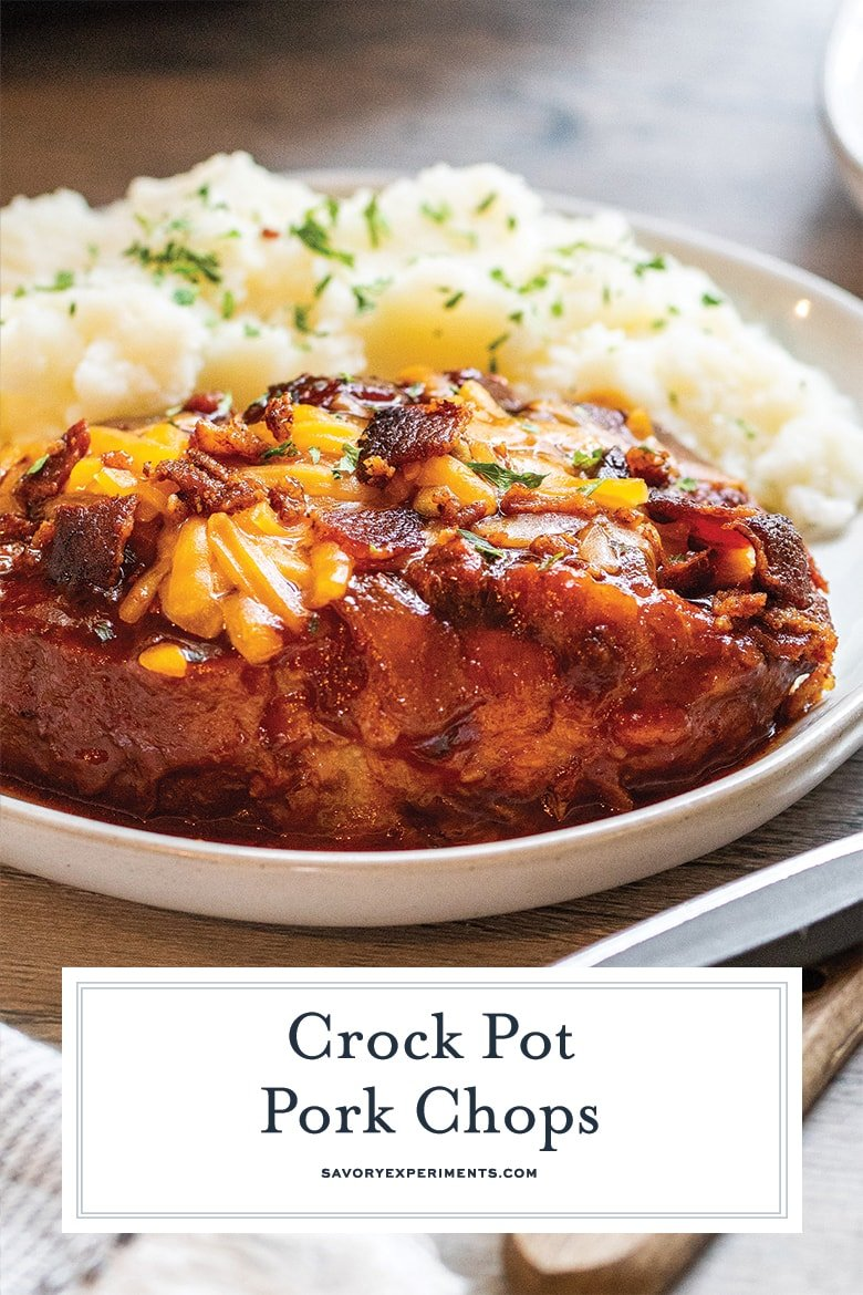 close up of crock pot pork chops