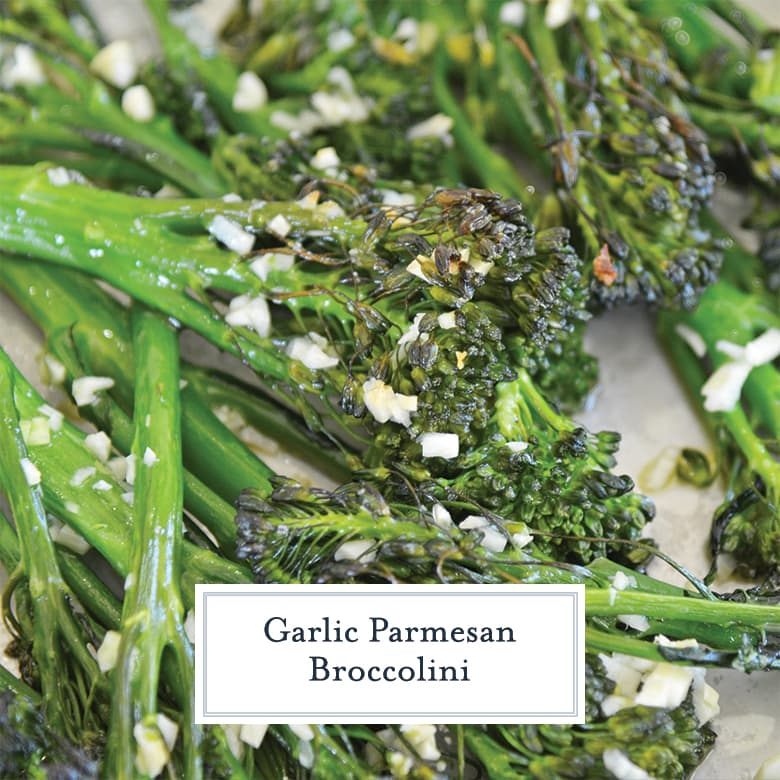 close up of broccolini with garlic