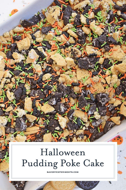 close up of halloween poke cake