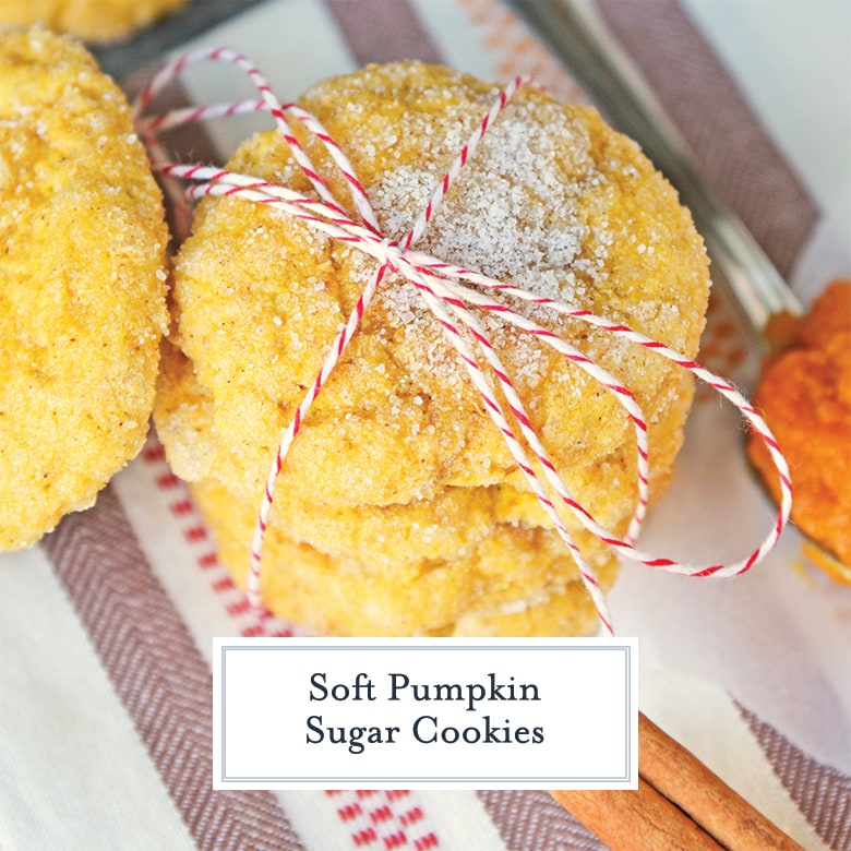 close up of pumpkin cookies tied with red twine