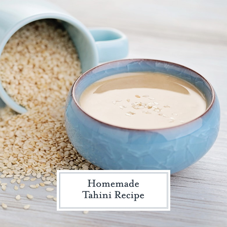 blue bowl of tahini paste