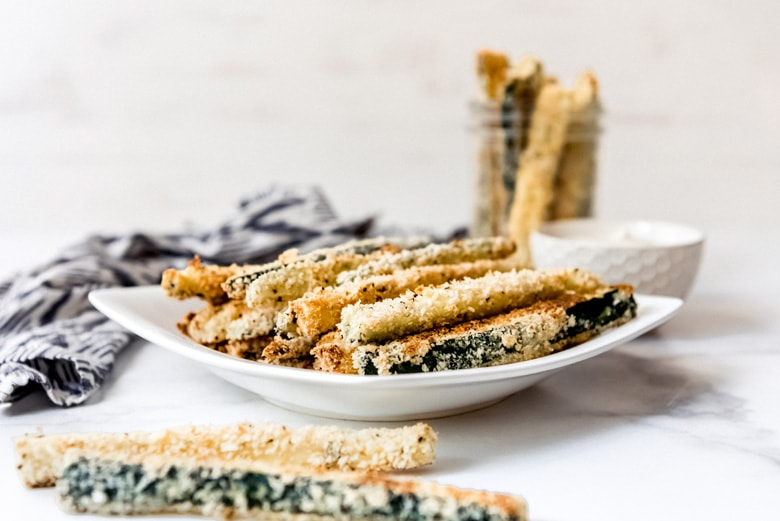 angle view of zucchini fries