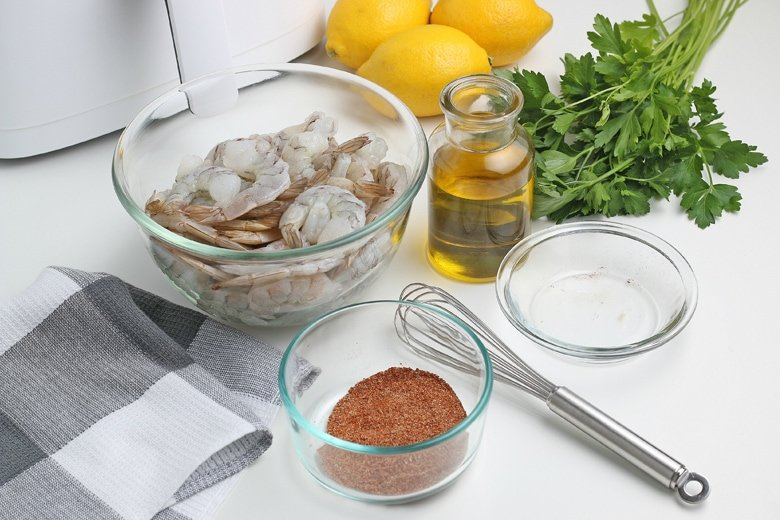 ingredients for blackened air fryer shrimp
