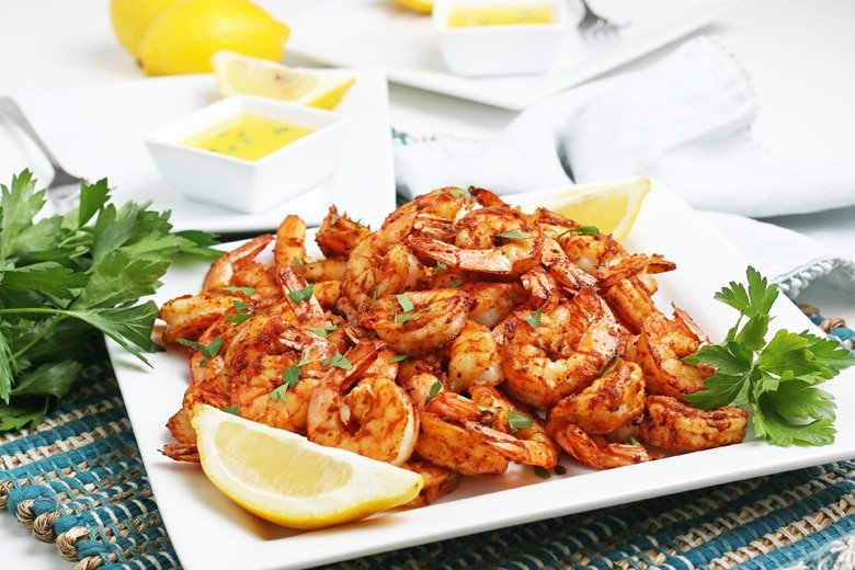 blackened shrimp with lemon and parsley