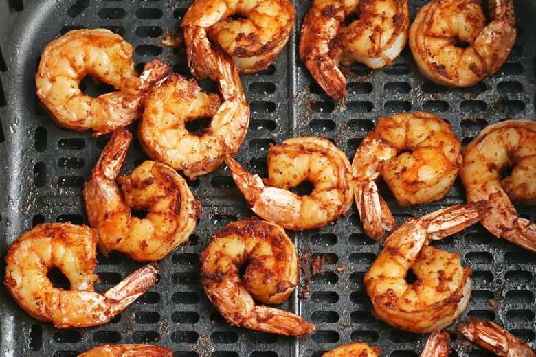 shrimp in an air fryer basket
