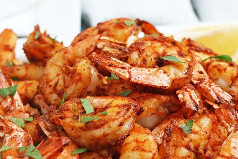 close up of air fryer shrimp