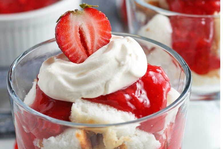 close up of top of mini strawberry trifle