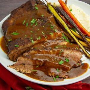 sliced braised brisket with gravy