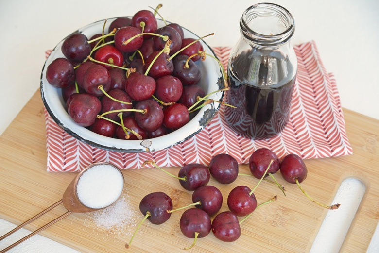 ingredients for balsamic cherry sauce