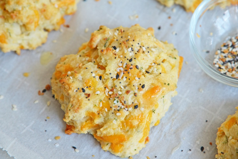 overhead shot of cheesy everything bagel seasoning biscuits