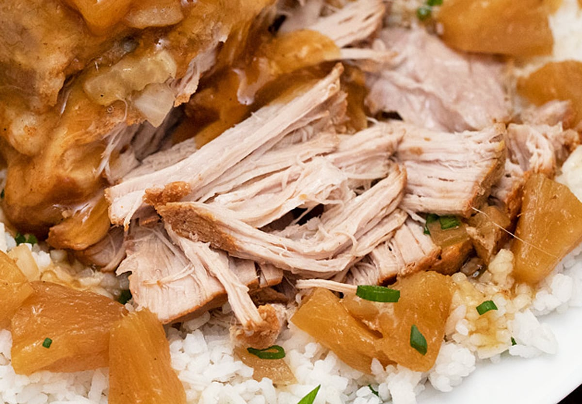 close up of hawaiian shredded pork