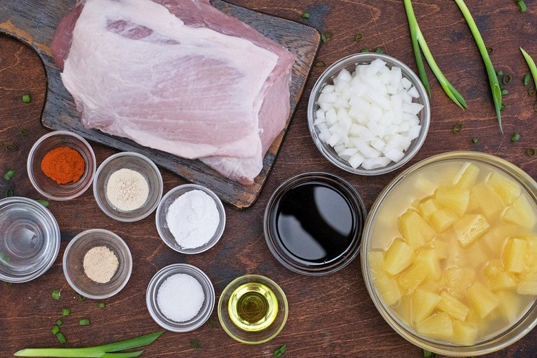 ingredients for slow cooker hawaiian pork loin