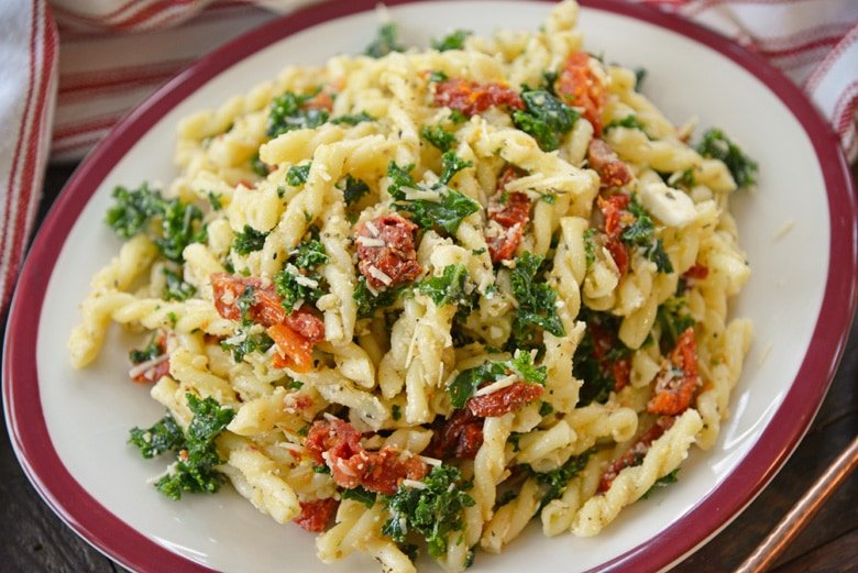italian pasta salad on a white dish