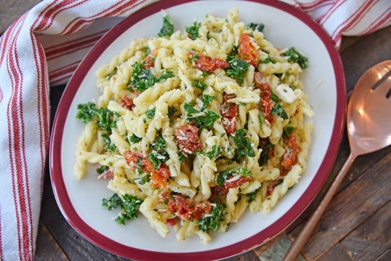 dish of cold pasta salad