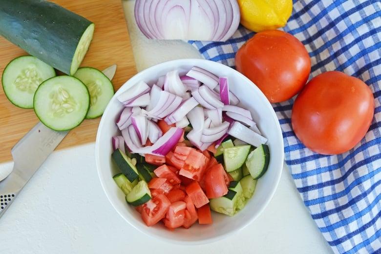 chopped vegetables for gyros