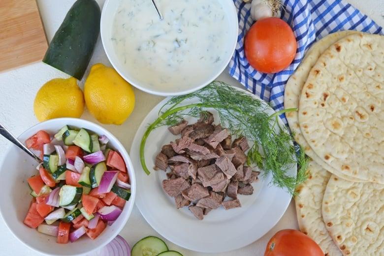 ingredients for making lamb gyros