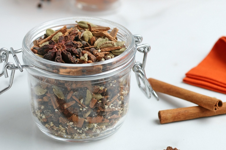 mulling spices in a jar