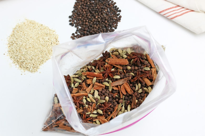 pickling spices in a plastic bag
