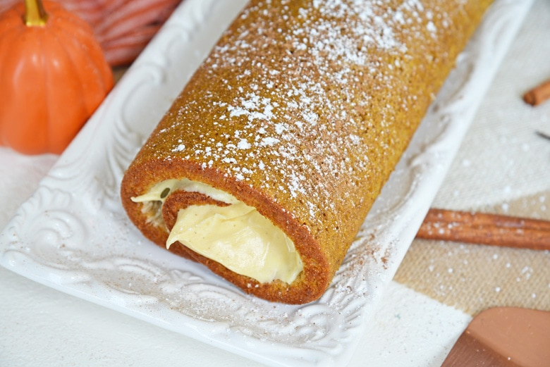 angle view of pumpkin cake roll