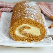 pumpkin cake roll with cream cheese frosting