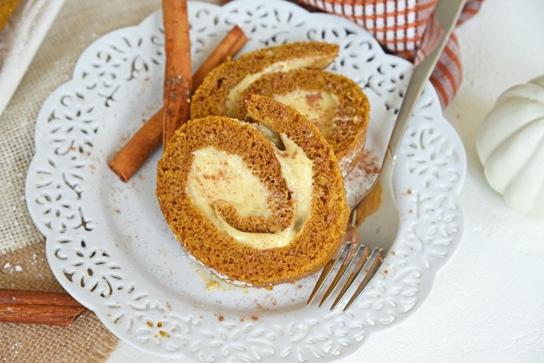 pumpkin cake roll slices on a plate