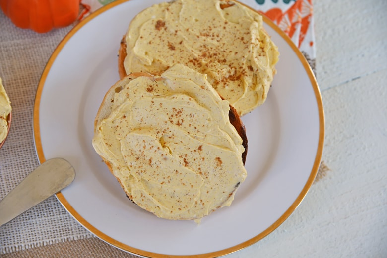 pumpkin cream cheese on a bagel
